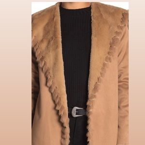 Love Token Boho faux leather& fur trim jacket Sz L